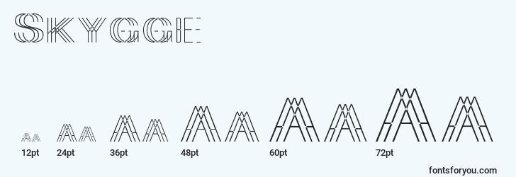 sizes of skygge font, skygge sizes