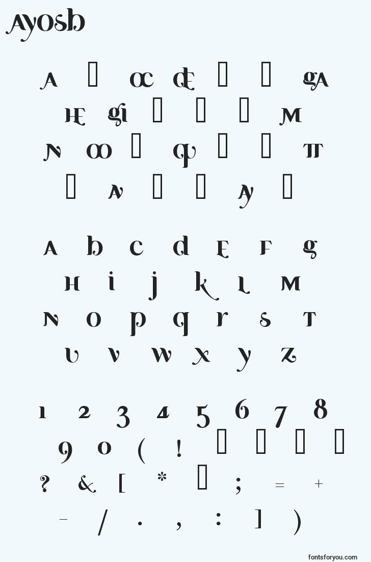 characters of ayosb font, letter of ayosb font, alphabet of  ayosb font