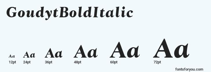sizes of goudytbolditalic font, goudytbolditalic sizes