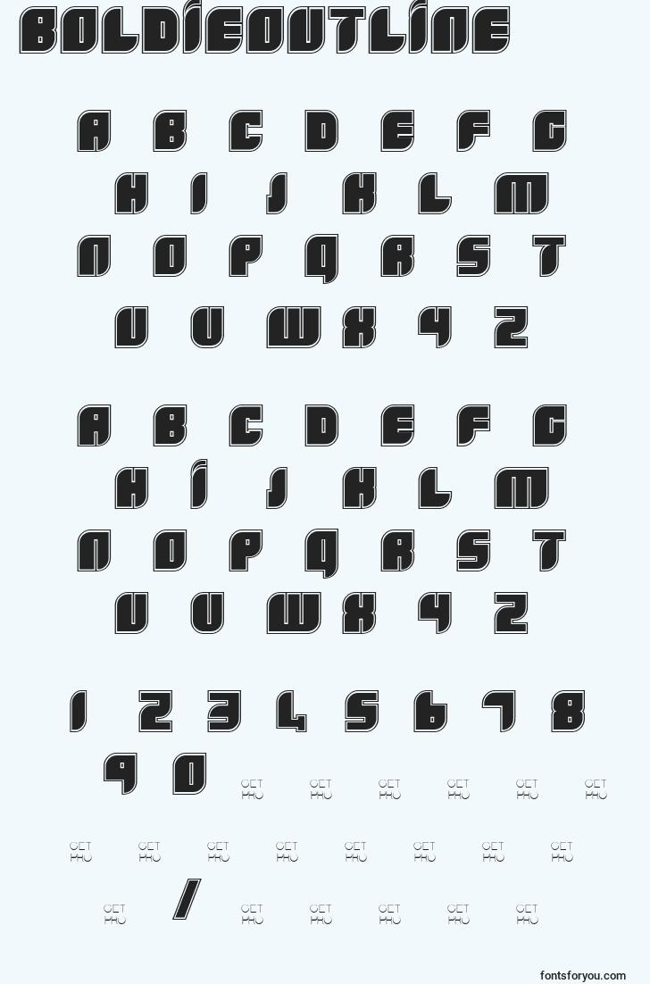 characters of boldieoutline font, letter of boldieoutline font, alphabet of  boldieoutline font