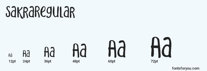 sizes of sakraregular font, sakraregular sizes