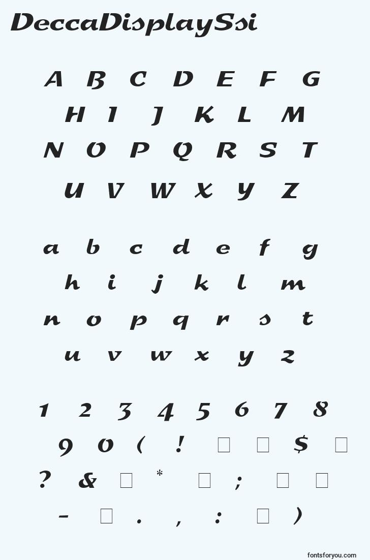 characters of deccadisplayssi font, letter of deccadisplayssi font, alphabet of  deccadisplayssi font