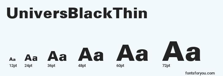 sizes of universblackthin font, universblackthin sizes