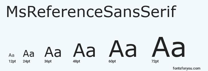 sizes of msreferencesansserif font, msreferencesansserif sizes