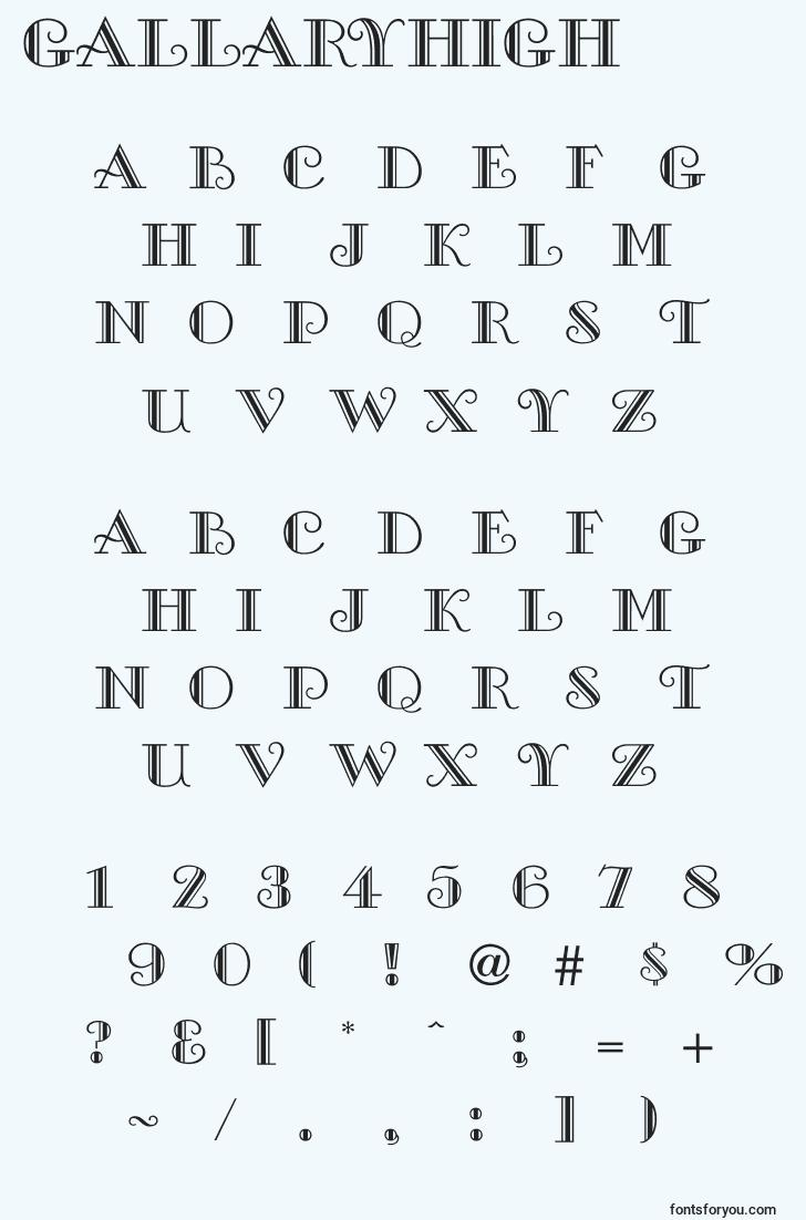 characters of gallaryhigh font, letter of gallaryhigh font, alphabet of  gallaryhigh font