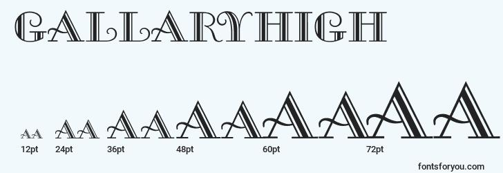 sizes of gallaryhigh font, gallaryhigh sizes