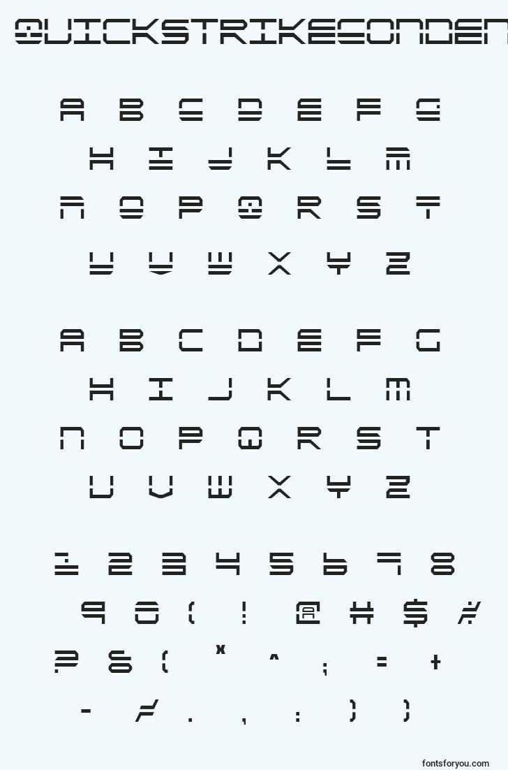 characters of quickstrikecondensed font, letter of quickstrikecondensed font, alphabet of  quickstrikecondensed font