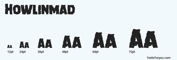 sizes of howlinmad font, howlinmad sizes