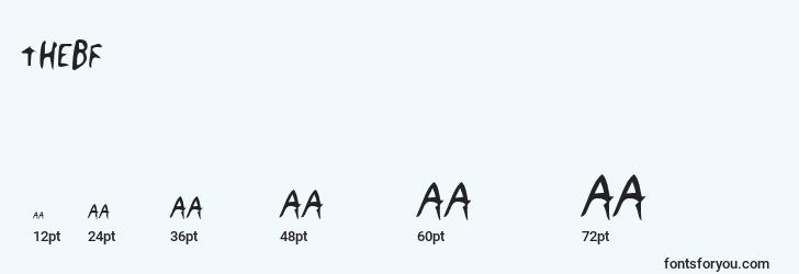 sizes of thebf font, thebf sizes