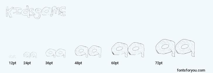 sizes of kidsgame font, kidsgame sizes
