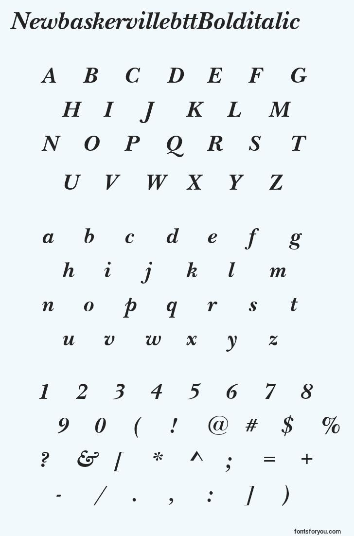 characters of newbaskervillebttbolditalic font, letter of newbaskervillebttbolditalic font, alphabet of  newbaskervillebttbolditalic font