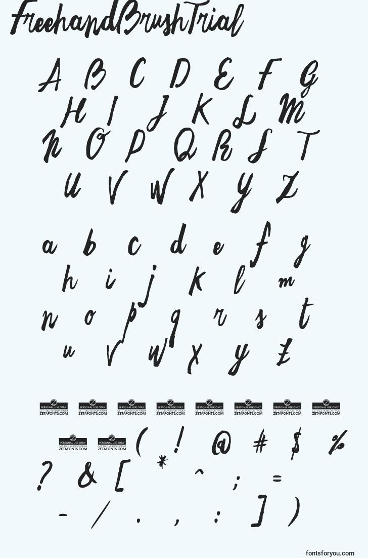 characters of freehandbrushtrial font, letter of freehandbrushtrial font, alphabet of  freehandbrushtrial font