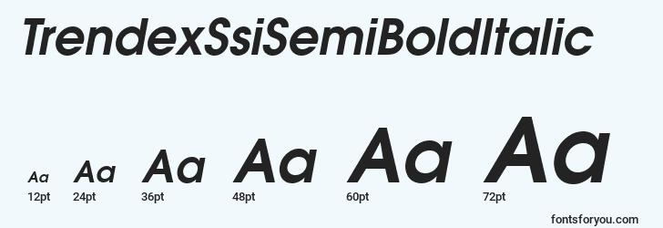 sizes of trendexssisemibolditalic font, trendexssisemibolditalic sizes