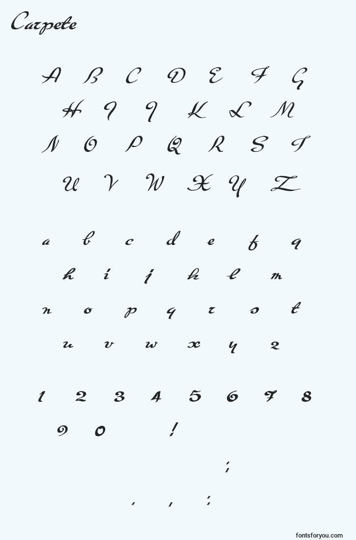characters of carpete font, letter of carpete font, alphabet of  carpete font