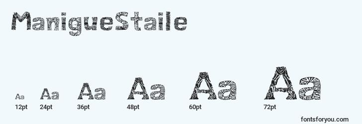 sizes of maniguestaile font, maniguestaile sizes