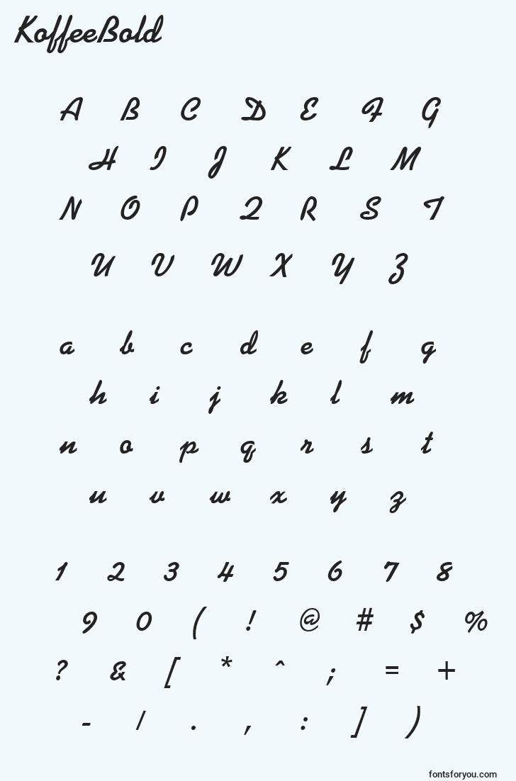 characters of koffeebold font, letter of koffeebold font, alphabet of  koffeebold font