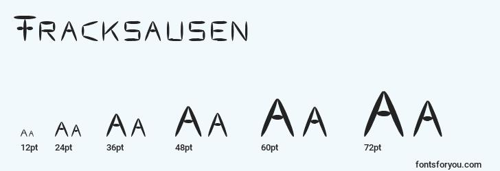 sizes of fracksausen font, fracksausen sizes