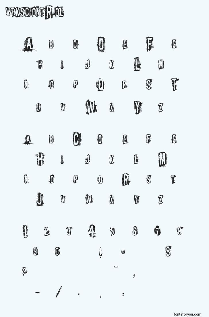 characters of vtkscontrol font, letter of vtkscontrol font, alphabet of  vtkscontrol font