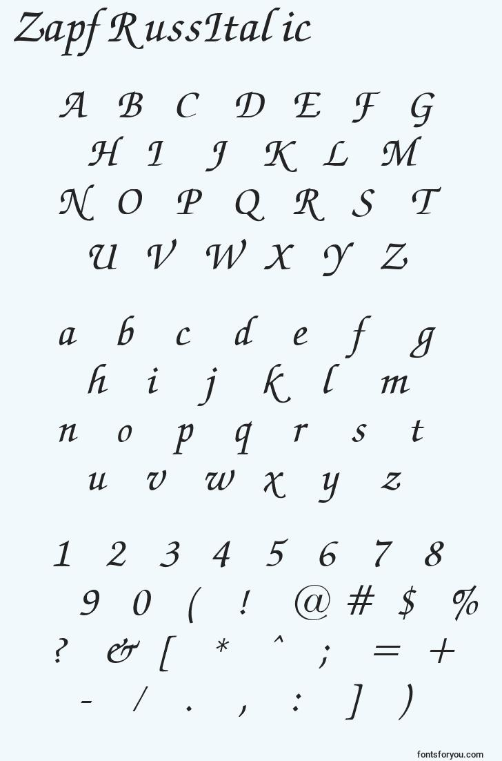characters of zapfrussitalic font, letter of zapfrussitalic font, alphabet of  zapfrussitalic font