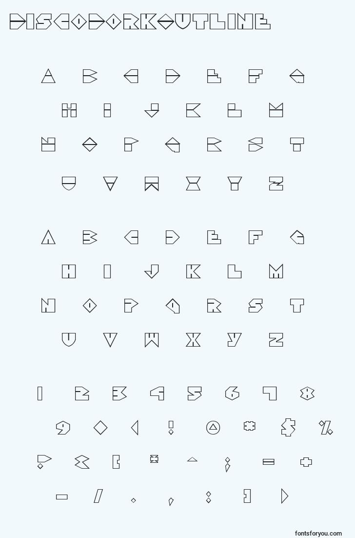characters of discodorkoutline font, letter of discodorkoutline font, alphabet of  discodorkoutline font