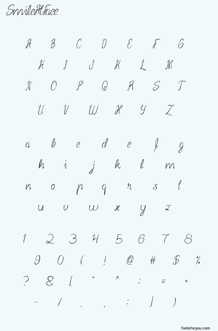 characters of smileatface font, letter of smileatface font, alphabet of  smileatface font