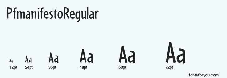 sizes of pfmanifestoregular font, pfmanifestoregular sizes