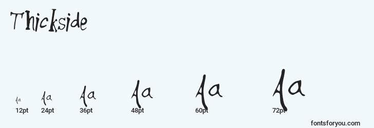 sizes of thickside font, thickside sizes