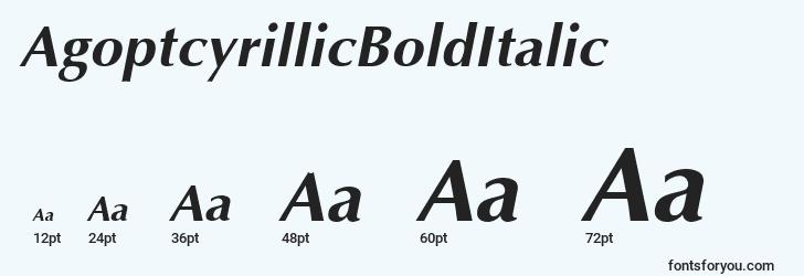 sizes of agoptcyrillicbolditalic font, agoptcyrillicbolditalic sizes
