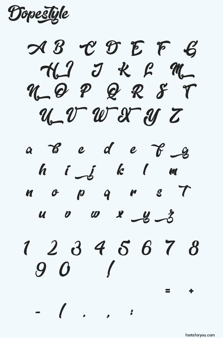 characters of dopestyle font, letter of dopestyle font, alphabet of  dopestyle font