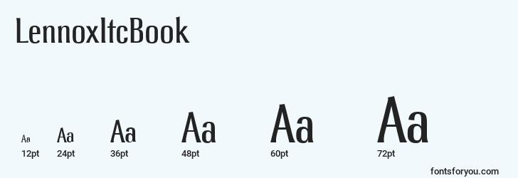 sizes of lennoxitcbook font, lennoxitcbook sizes