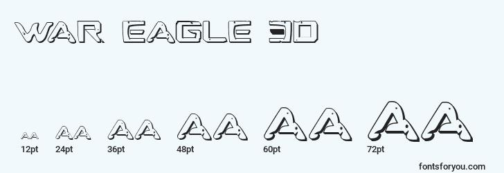 sizes of war eagle 3d font, war eagle 3d sizes