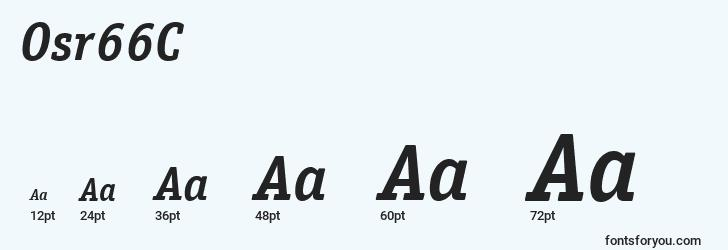 sizes of osr66c font, osr66c sizes