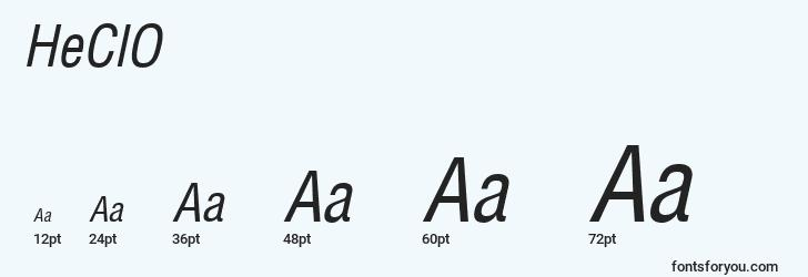 sizes of heclo font, heclo sizes