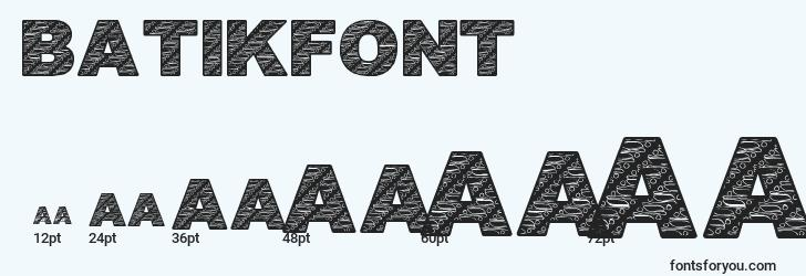 sizes of batikfont1 font, batikfont1 sizes