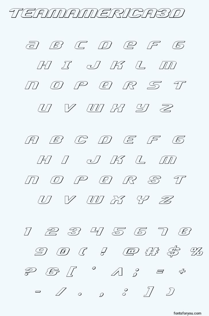 characters of teamamerica3d font, letter of teamamerica3d font, alphabet of  teamamerica3d font