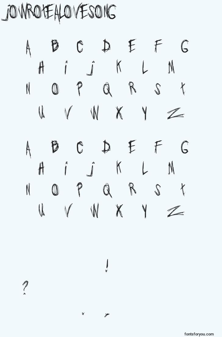 characters of jowrotealovesong font, letter of jowrotealovesong font, alphabet of  jowrotealovesong font
