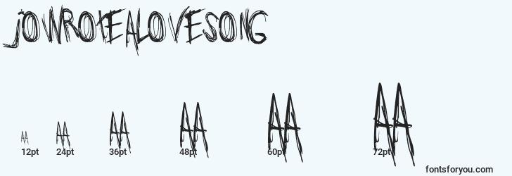 sizes of jowrotealovesong font, jowrotealovesong sizes