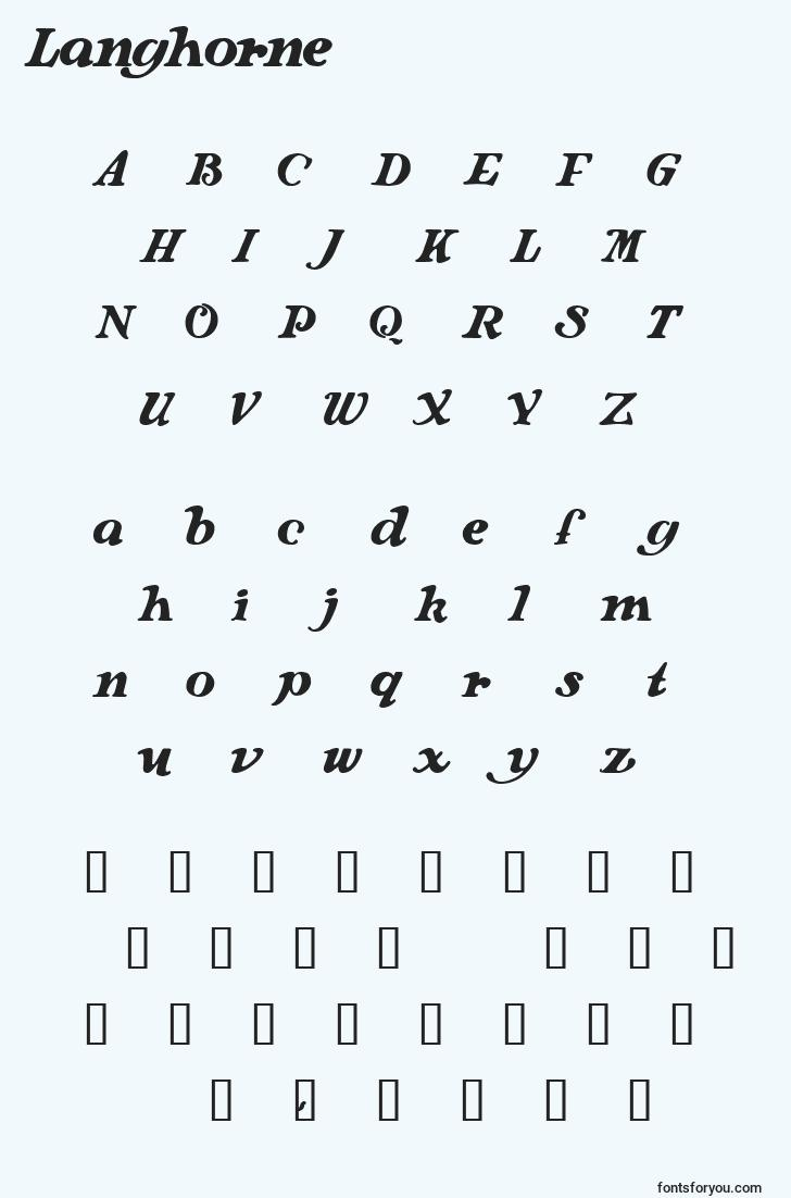 characters of langhorne font, letter of langhorne font, alphabet of  langhorne font