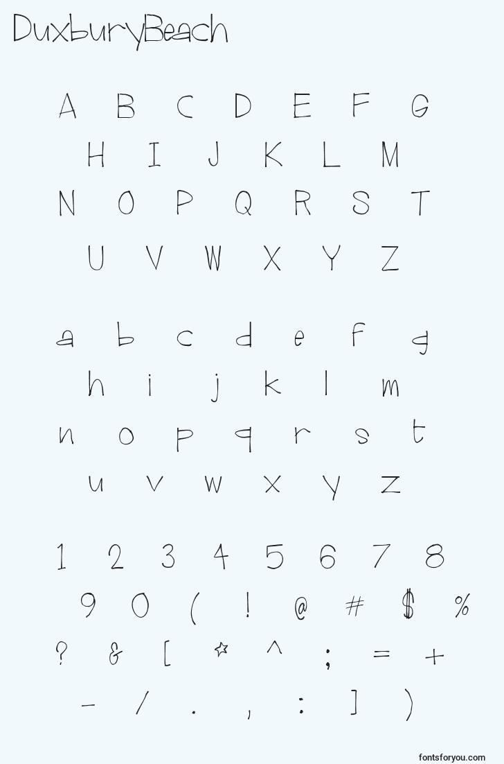 characters of duxburybeach font, letter of duxburybeach font, alphabet of  duxburybeach font