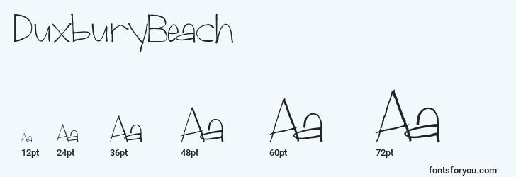 sizes of duxburybeach font, duxburybeach sizes