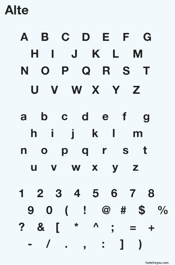 characters of alte font, letter of alte font, alphabet of  alte font