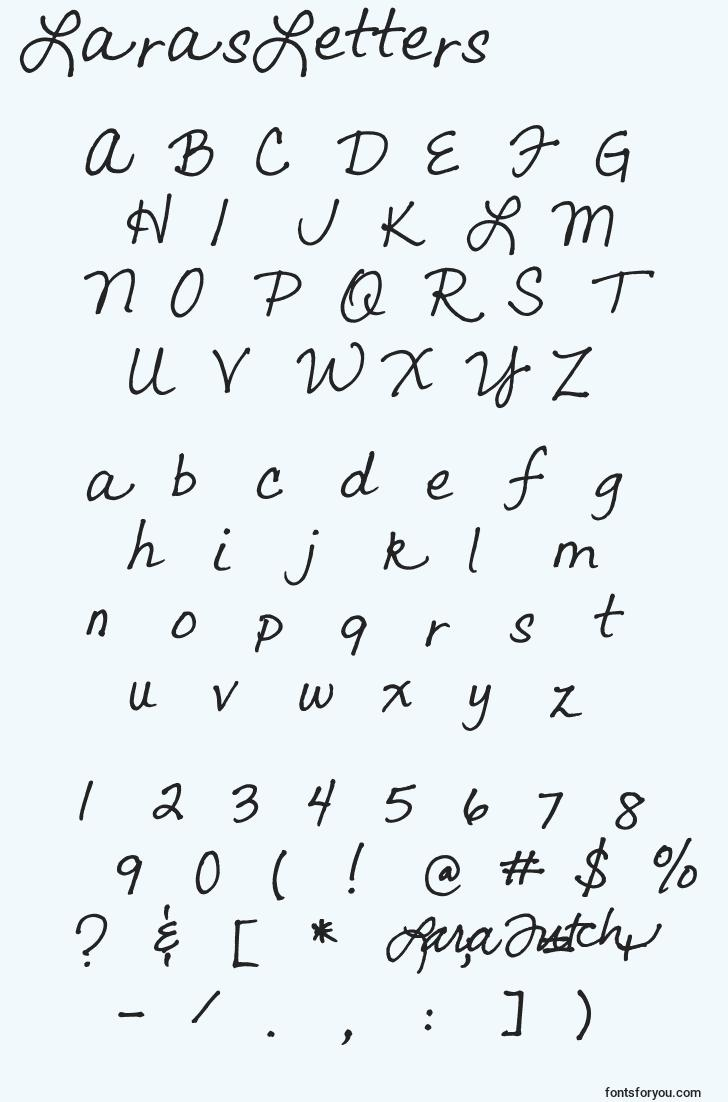 characters of larasletters font, letter of larasletters font, alphabet of  larasletters font
