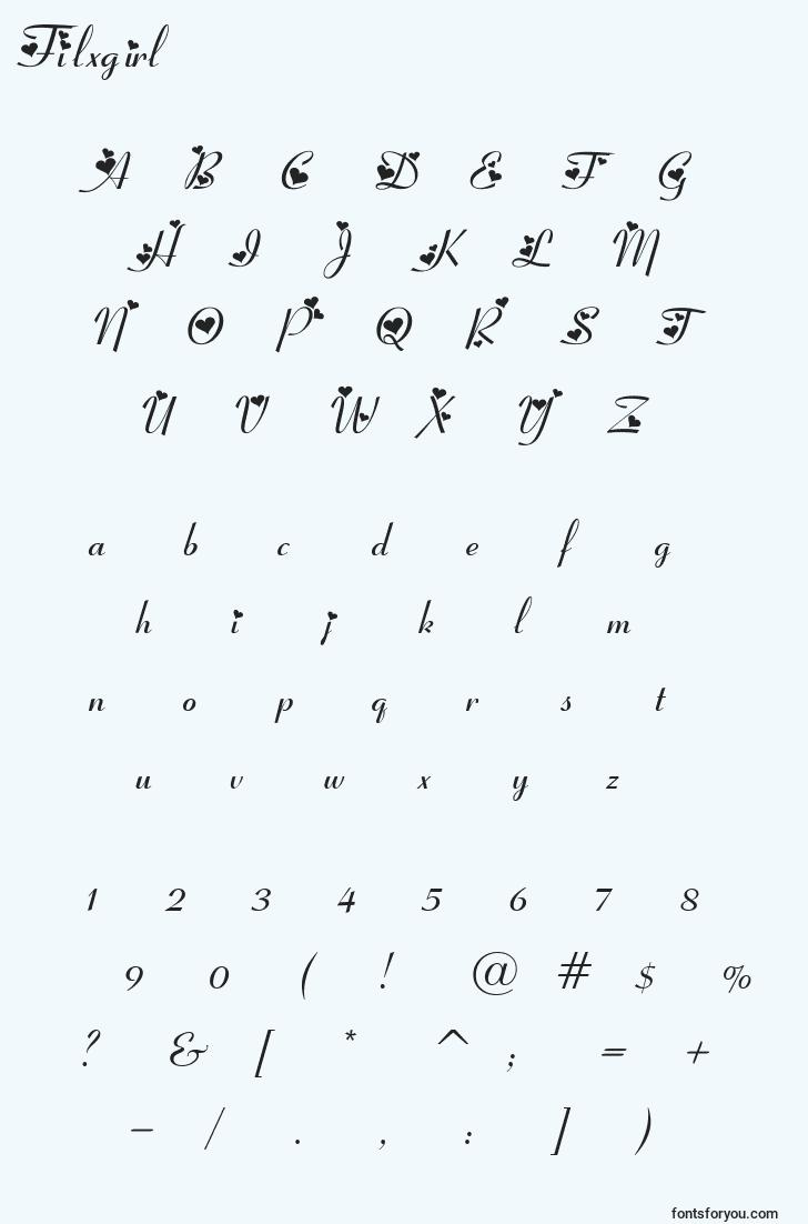 characters of filxgirl font, letter of filxgirl font, alphabet of  filxgirl font