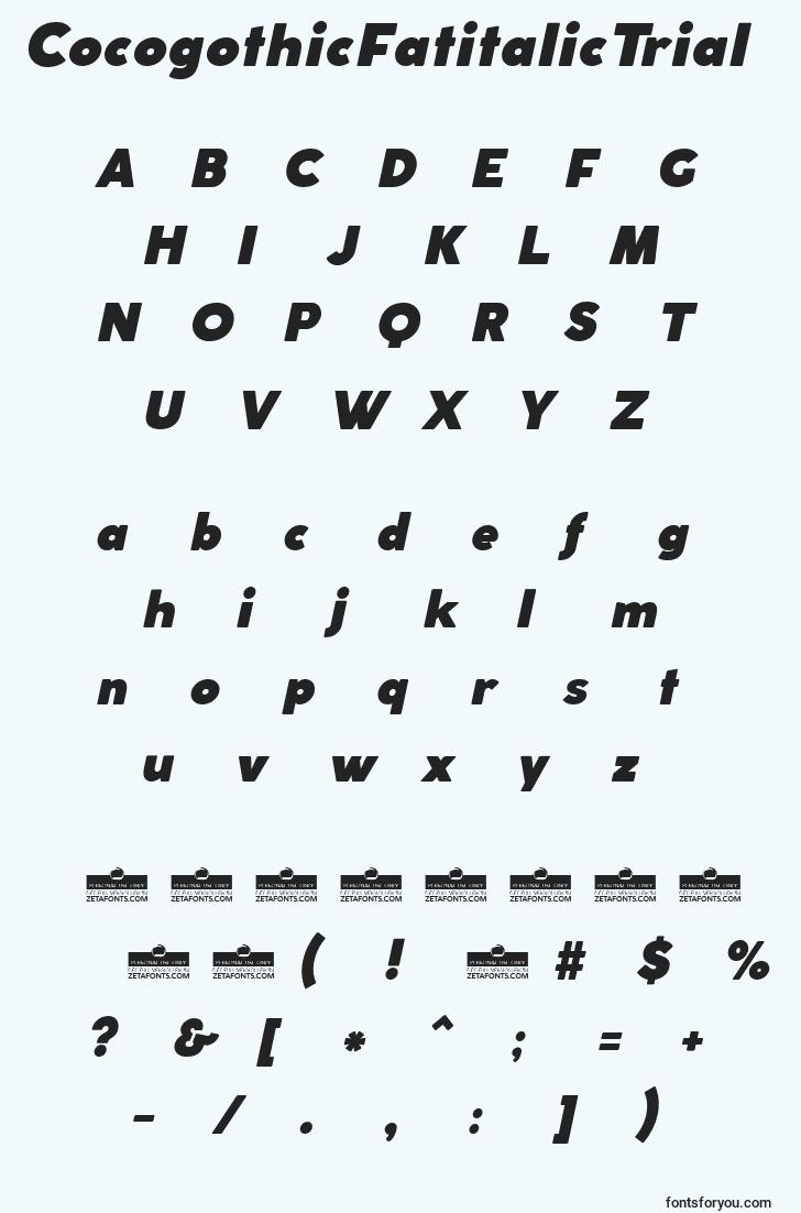 characters of cocogothicfatitalictrial font, letter of cocogothicfatitalictrial font, alphabet of  cocogothicfatitalictrial font