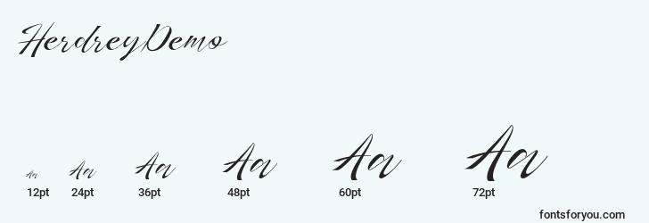 sizes of herdreydemo font, herdreydemo sizes