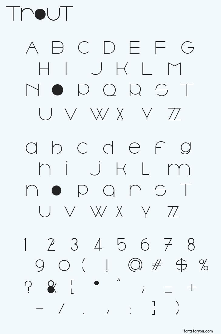 characters of trout font, letter of trout font, alphabet of  trout font