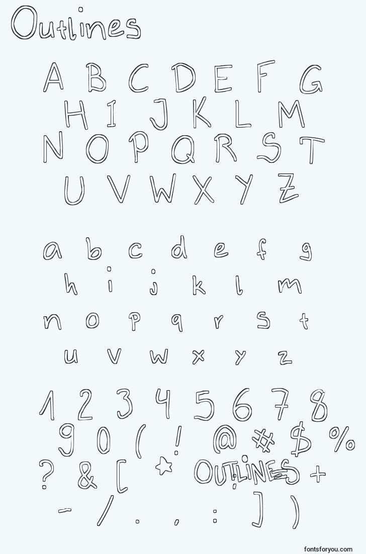 characters of outlines font, letter of outlines font, alphabet of  outlines font