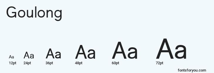 sizes of goulong font, goulong sizes