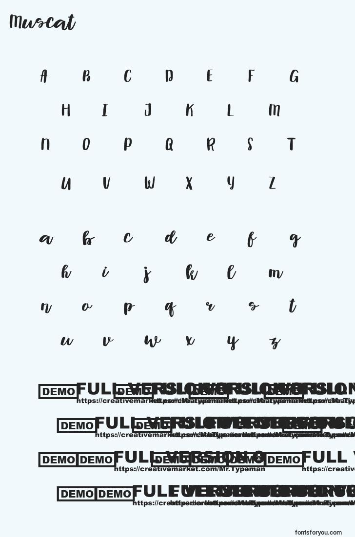 characters of muscat font, letter of muscat font, alphabet of  muscat font