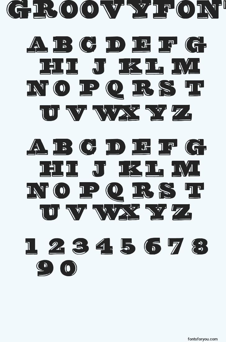 characters of groovyfont font, letter of groovyfont font, alphabet of  groovyfont font